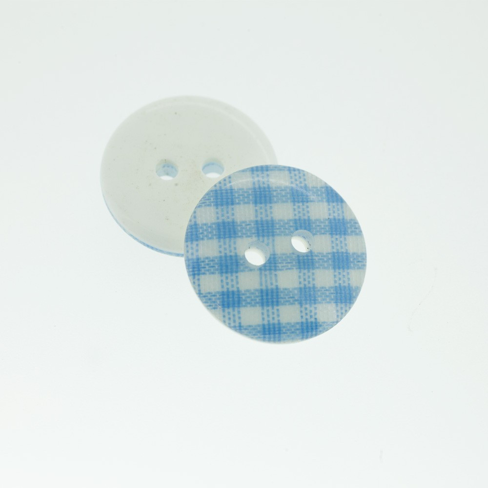 Bouton Polyester vichy bleu de france 18 mm