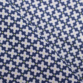 TISSU COTON LEGER GRAPHIQUE BLEU A POIS JAUNE FLUO  X 10 CM
