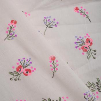 TISSU COTON IMPRIME FOLK FLOWER  X 10 CM