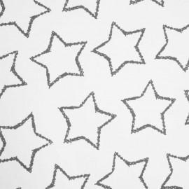 TISSU JERSEY COTON ETOILES GRISES & BLANC  X 10 CM