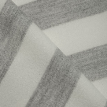 Tissu laine rayé gris & blanc cassé  x 10 CM