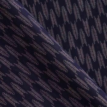 TISSU COTON MOTIF IMPRIME Bleu nuit & Corail léger  X 10 CM