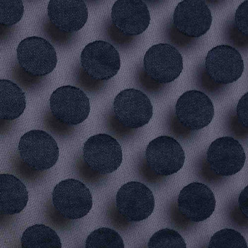 Tissu poly-coton transparent à pois bleu marine x 10cm