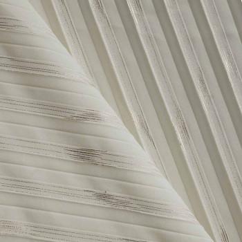 Tissu polyester plissé blanc cassé et cuivre x 10cm