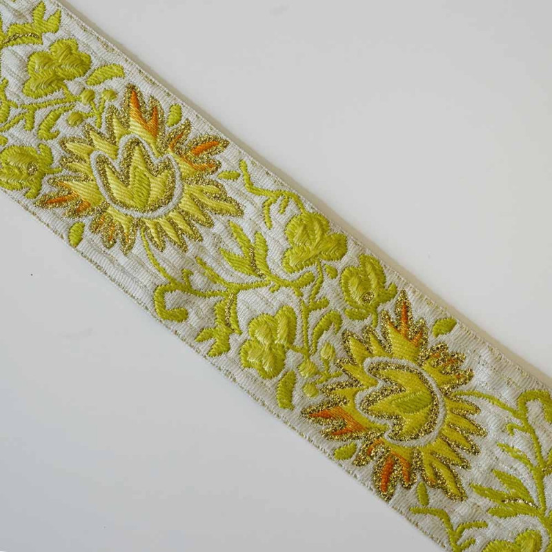 Ruban tissé flowers et fil lurex gold 62mm