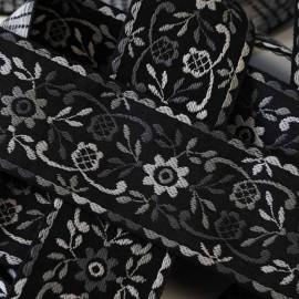 Ruban tissé flowers gris & Noir 45mm
