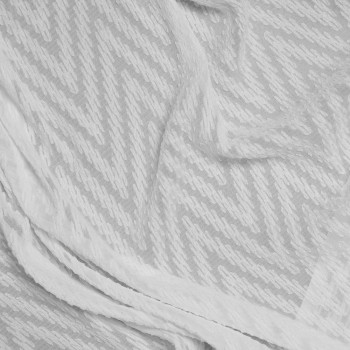 Tissu mousseline tissé et ajouré blanc x 10cm