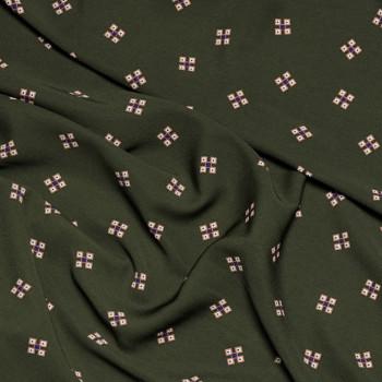 Tissu polyester kaki à motif - mercerie en ligne - tissus pas cher - pretty mercerie