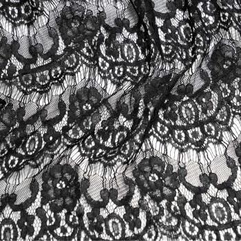 Tissu dentelle fleurs noir x 10cm
