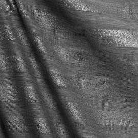 Tissu polyester viscose gris & lurex argent à bandes x 10cm