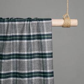 Tissu Coton et laine Tartan gris & Vert & Bleu x 10cm