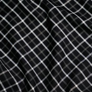 Tissu carreaux noir & Blanc cassé & gris x 10cm