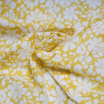 TISSU COTON IMPRIMÉ FLOWER MIMOSA & BLANC X 10 CM   Pretty Mercerie - Tissus pas cher - Mercerie en ligne