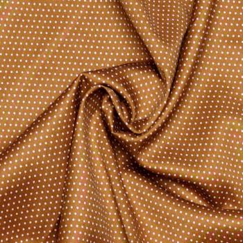 TISSU COTON IMPRIMÉ PETIT POIS CARAMEL & BLANC X 10 CM  Pretty Mercerie - Tissus pas cher - Mercerie en ligne