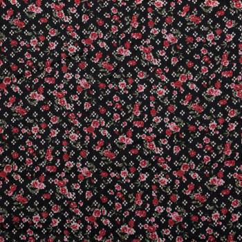 TISSU COTON IMPRIMÉ BOUQUET DE ROSES X 10 CM - Pretty Mercerie - Mercerie en ligne