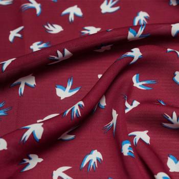 Tissu voile polyester hirondelle rumba red x 10cm - Pretty Mercerie - Mercerie en ligne