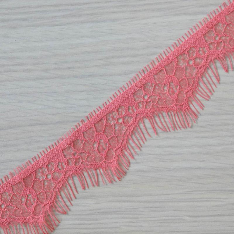 RUBAN DENTELLE ROSE CORAIL x 1,45 M - pretty mercerie - mercerie en ligne