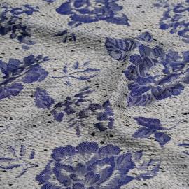 TISSU JACQUARD FLOWER BLUE x 10 CM