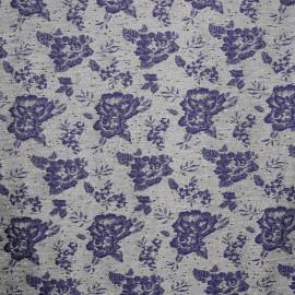 TISSU JACQUARD FLOWER BLUE x 10 CM - Pretty Mercerie - Mercerie en ligne