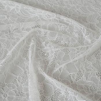 Tissu dentelle fleurie blanc cassé x 10cm - pretty mercerie - mercerie en ligne - mercerie pas cher