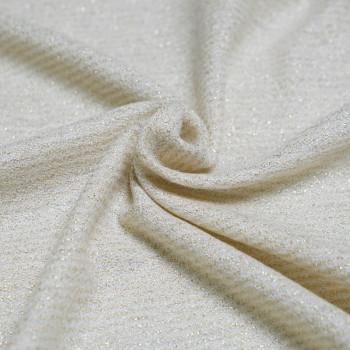 Tissu Lainage leger crème & or x 10cm - pretty mercerie - mercerie en ligne - mercerie pas cher