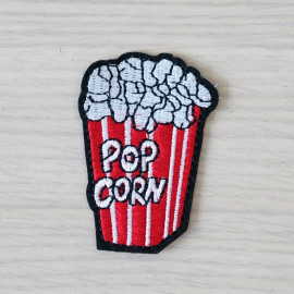 Badge brodé Pop Corn- pretty mercerie - customization - mercerie en ligne - mercerie pas cher