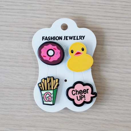 Pins Donuts & Canard & Frites & Cheer up- pretty mercerie - customisation - mercerie en ligne - mercerie pas cher