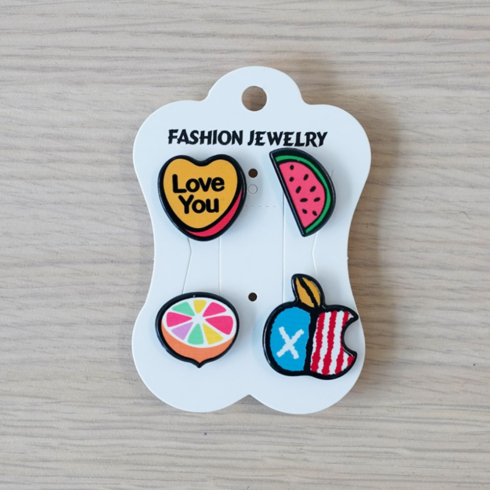 Pins LOVE U & Pastèque & citron & pomme - pretty mercerie - customisation - mercerie en ligne - mercerie pas cher