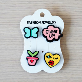 Pins Papillon & Cheer up & Flower & Coeur - pretty mercerie - customisation - mercerie en ligne - mercerie pas cher