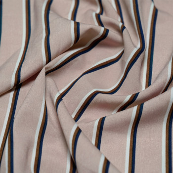 Tissu polyester rayé Rose léger & Bleu & Marron & Blanc x 10cm- Pretty Mercerie - Mercerie en ligne - Mercerie pas cher