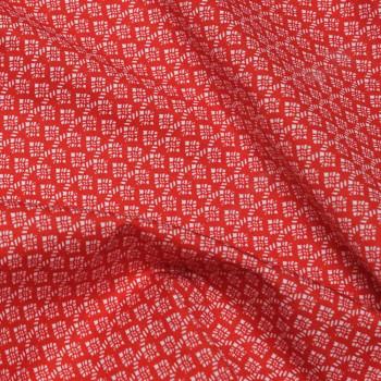 TISSU COTON IMPRIMÉ ROUGE MOTIF BLANC  X 10 CM- Pretty Mercerie - Mercerie en ligne - Mercerie pas cher