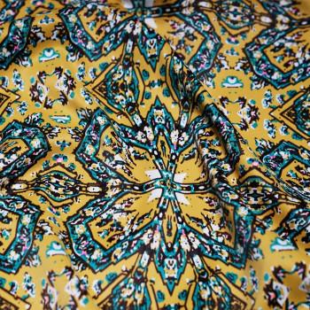 Tissu polyester imprimé moutarde & bleu céramique & chesnut & rose fluo x 10cm - Pretty Mercerie - Mercerie en ligne - Mercerie