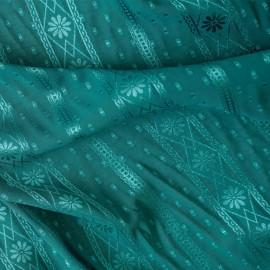 Tissu plumetis et bandes fleuris ajouré bleu canard x 10cm