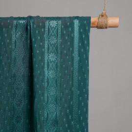 Tissu plumetis et bandes fleuris ajouré bleu canard x 10cm - Pretty Mercerie - Mercerie en ligne - Mercerie pas cher