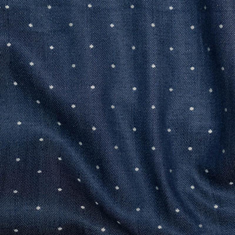 TISSU DENIM BLEU BANDE & POIS X 10 CM - Pretty Mercerie - Mercerie en ligne - Mercerie pas cher