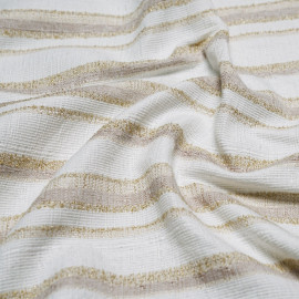 tissu jacquard bandes blanche & or & sable x 10 CM