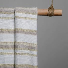 tissu jacquard bandes blanche & or & sable x 10 CM - Pretty Mercerie - Mercerie en ligne - Mercerie pas cher