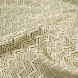 Tissu tissé  Zig Zag or & blanc x 10cm