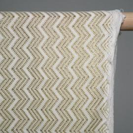 Tissu polyester tissé  Zig Zag or & blanc x 10cm - Pretty Mercerie - Mercerie en ligne - Mercerie pas cher