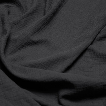 tissu double gaze de coton gris foncé x 10 cm
