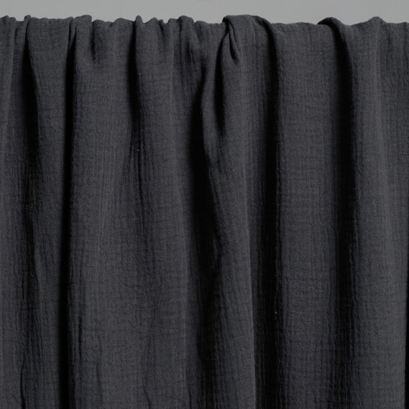tissu double gaze de coton gris foncé x 10 cm - Pretty Mercerie - Mercerie en ligne - Mercerie pas cher
