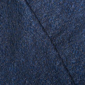 tissu jacquard Flower Bleu & lurex x 10 CM