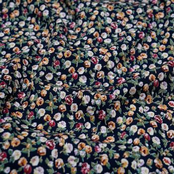Tissu imprimé bleu & petites roses X 10 CM