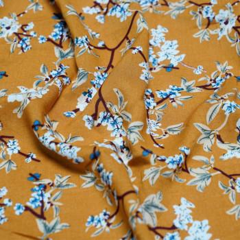 Tissu imprimé fleurs de cerisier miel doré X 10 CM - Pretty Mercerie - Mercerie en ligne - mercerie pas cher
