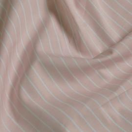 tissu coton imprimé rayé rose & blanc x 10cm