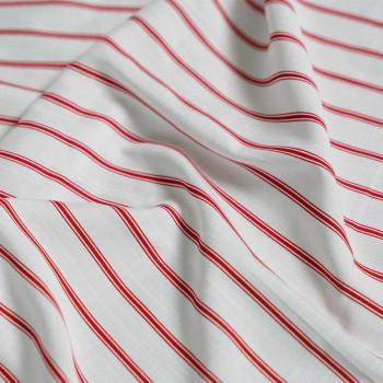 Tissu coton & lin imprimé lignes rouges x 10cm- pretty mercerie - mercerie en ligne - mercerie pas cher