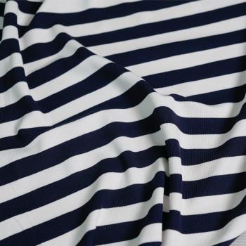 tissu maille côtelé bleu & blanc x 10cm - pretty mercerie - mercerie en ligne - mercerie pas cher