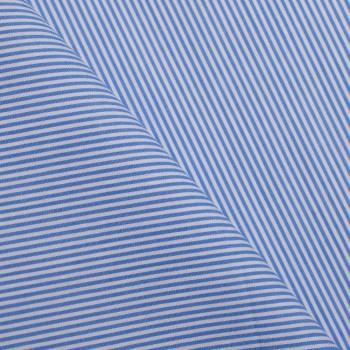 tissu coton imprimé rayé bleu & blanc x 10cm - pretty mercerie - mercerie en ligne - mercerie pas cher