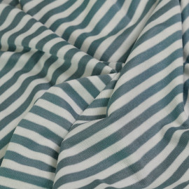 tissu maille côtelé viscose bleu arctique & blanc x 10cm