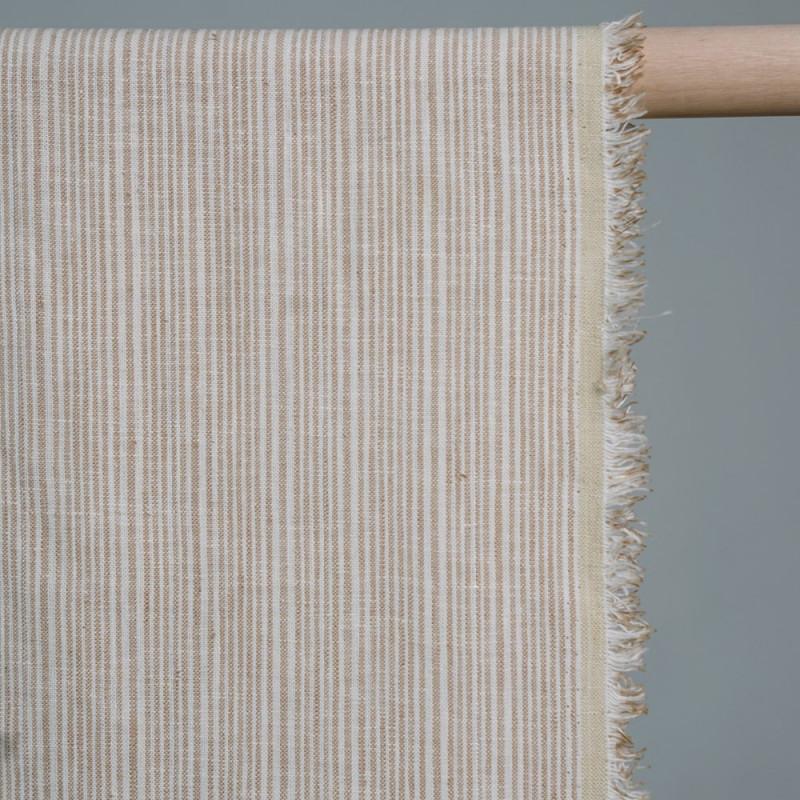 Tissu coton tissé rayé beige & crème & argent x 10cm- pretty mercerie - mercerie en ligne - mercerie pas cher